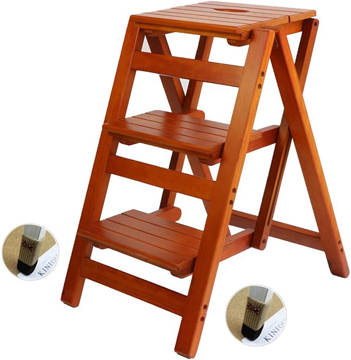 Solid Wood Ladder Stool Folding Home Multi-Function Ladder Indoor Ladder Pedal 3 Step Stool for Home Kitchen Office Garden Climbing Tools