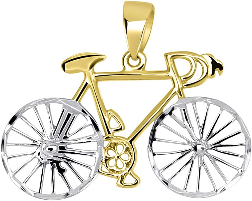 Solid 14k Yellow Gold Two-Tone Bicycle Bike with Textured Wheels Pendant