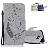 Aeeque® Gris Etui Galaxy S7, Mode Plume Motif Shock de Absorption Housse Coque...