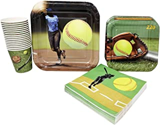 Softball Party Supplies (65+ Pieces for 16 Guests!), Softball Birthday Party Kit, Softball Tableware Pack, Decorations