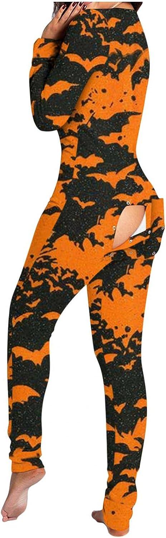 iQKA Women Jumpsuit Romper Playsuit Halloween Pajamas Button Down V Neck Functional Buttoned Flap Bodysuit