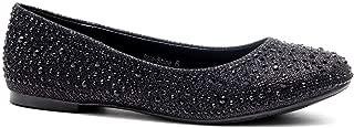 Herstyle Women's Sole-Shine Round Toe Jeweled Embellishments Rhinestone Ballet Flats Shoes