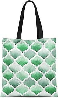 Semtomn Cotton Canvas Tote Bag Ikat Morrocan of Green Colors on Watercolor Lush Meadow Reusable Shoulder Grocery Shopping Bags Handbag Printed