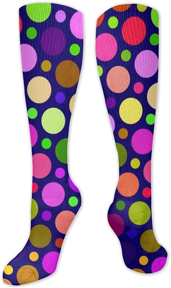 Colorful Circle Knee High Socks Leg Warmer Dresses Long Boot Stockings For Womens Cosplay Daily Wear