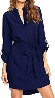 Blouse Dress for Women V Neck Solid Plain Loose Long Sleeve Shirt Dresses Casual Long Tunic Tops