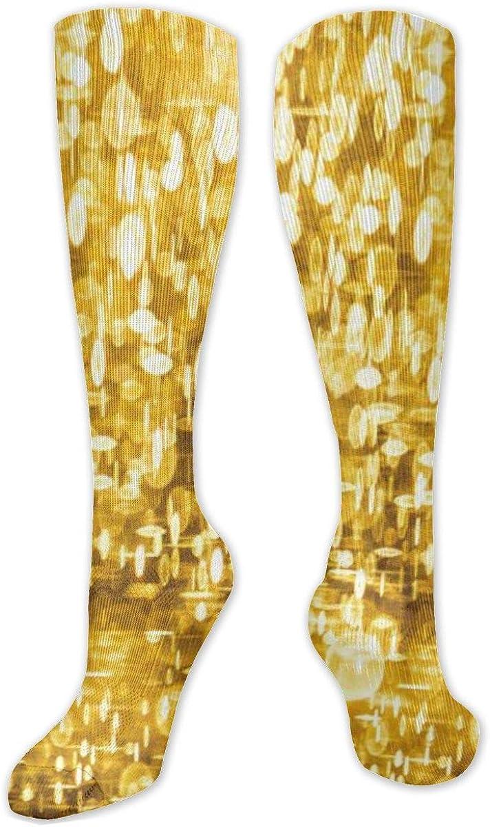 Golden Seamless Pattern Knee High Socks Leg Warmer Dresses Long Boot Stockings For Womens Cosplay Daily Wear