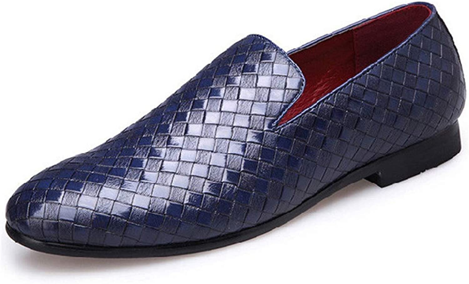 ZHRUI Men Leather shoes Weave Dress Loafers Slip On Male Casual shoes (color   bluee, Size   8 UK=41 EU)