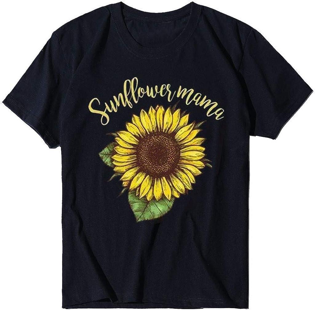 Women's Short Sleeve T-Shirt Casual Sunflower Letter Printed O-Neck Girls Fashion Crop T-Shirt Top Blouse