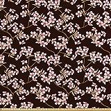 ABAKUHAUS Flor De Cerezo Tela por Metro, Jardín Japonés, Satén para Textiles del Hogar y Manualidades, 10M (148x1000cm), Brown De La Castaña De Café Crece