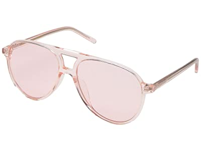 DIFF Eyewear Jonathan Van Ness Tosca Acetate Aviator (Rose Crystal/Pink) Fashion Sunglasses