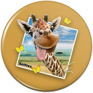Giraffe Selfie Picture Pinback Button Pin Badge