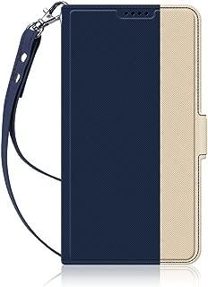 AVIDET au AQUOS sense SHV40 / lite SH-M05 / docomo SH-01K ケース 手帳型 カバー お洒落な2トーンカラー 軽量 高品質のPUレザー 専用保護ケース (Android One S3 ケース ブルー)