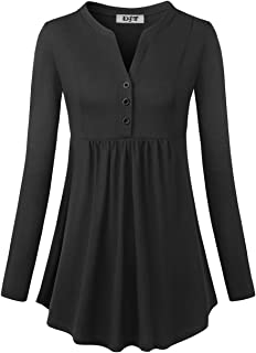 DJT Women's Long Sleeve Floral Shirts Casual Buttons Tunic Tops