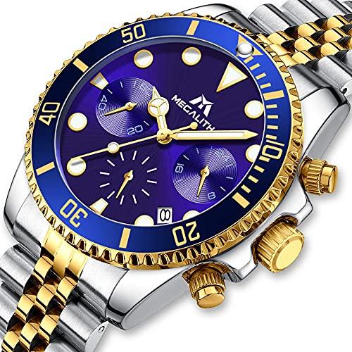 MEGALITH Herrenuhr Edelstahl Gold Chronographen Analog Quarz Armbanduhr Männer Kleid Mode Wasserdicht Leuchtende Uhren fur Männer Datum Kalender