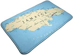 Bath Mat,Map of Jamaica Kingston Caribbean Sea Important Locations in Country,Plush Bathroom Decor Mat Non Slip Backing,19.531.5 inch