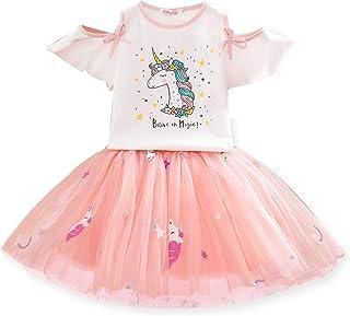 TTYAOVO Vestido Unicornio para Niñas con Tops Estampados de Unicornio y Faldas de Tutú de Arco Iris, Trajes de Tul de Algo...
