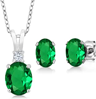 Gem Stone King 925 Sterling Silver Green Simulated Emerald Pendant Earrings Set For Women (2.40 Cttw Oval with 18 Inch Sil...