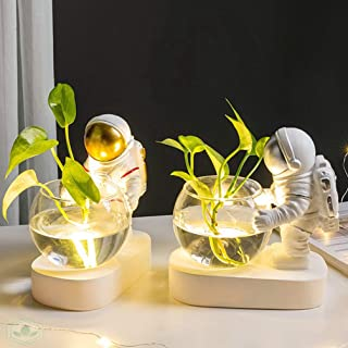 OSALADI Astronaut Night Lights with Clear Glass Hydroponics Vase, Spaceman Table Lamp for Home Bedroom Living Room Office ...