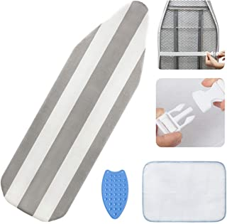 Wide Iron Board Cover and Pad - 3 Layers Padded Table Top 15x53 Ironing Board Covers Grey Stripe Adjustable Anti Bunching ...