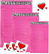 30 Assorted Sizes 8.5x12, 6x9, and 4x8 Hot Pink Poly Bubble Mailers with Heart Thank You Stickers