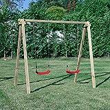 SavinOutdoor Altalena in Legno per Bambini Standard N.2 sedili Liberi Parco Giochi Giardino Esterno