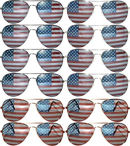 Gafas de sol estilo clásico de aviador, 12pares, lentes OWL de espejo de colores, negro, plateado, dorado, de metal