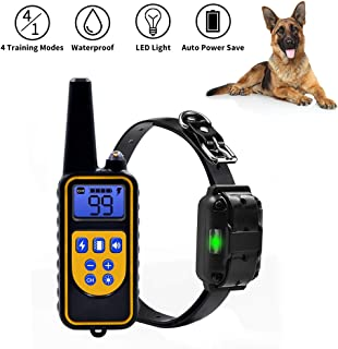 NACRL Dog Training Collar with LED Light - Electronic Rechargeable Dog Shock Collar - Vibration,Shock,Light,Beep 4 Training Modes Remote and Receiver Waterproof Up to 1000yd Remote Range