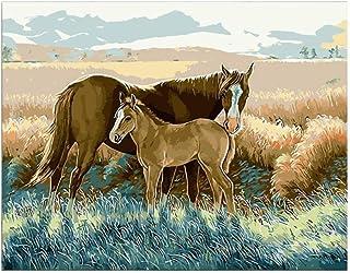 Yyboo DIY Malen Nach Zahlen Digitale Leinwand Ölgemälde Geschenk Erwachsene Kinder Kits Home Decorators - Pferde Auf Der Prärie (Holzrahmen) B07PHT5K8W  Neuer Markt