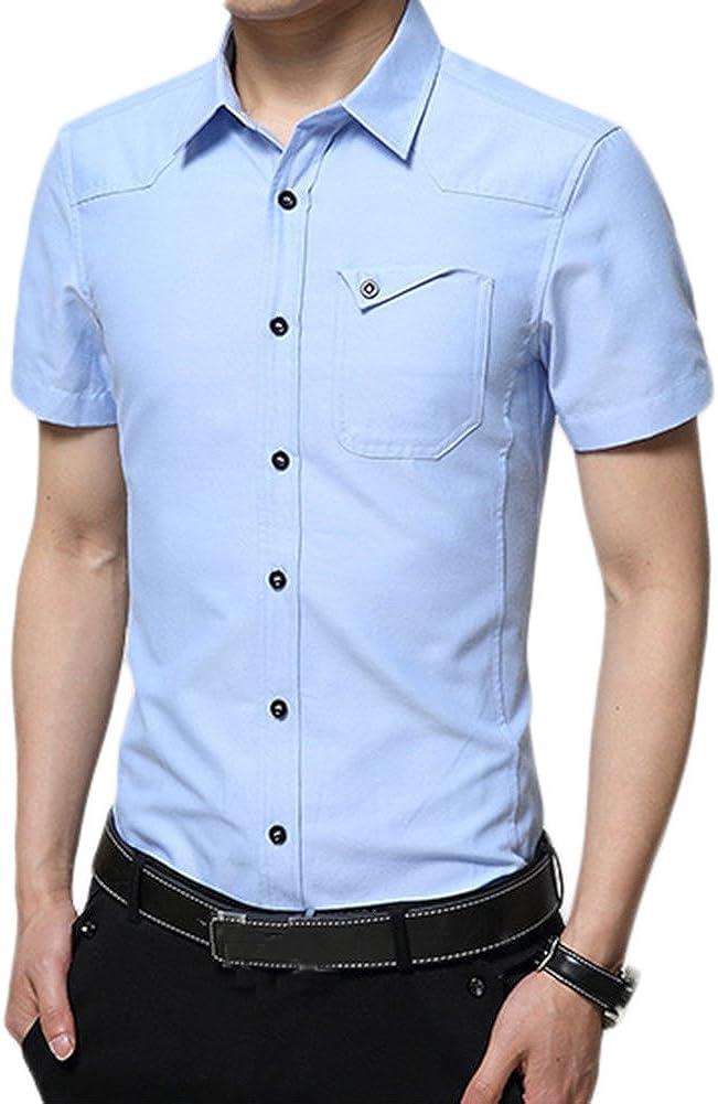 Idopy Camisas Formales clásicas para Hombre de Manga Corta ...
