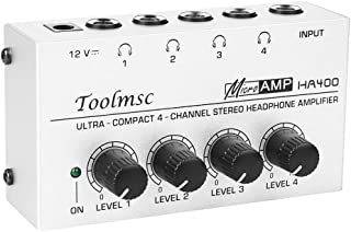 Toolmsc 4チャンネル ヘッドフォンアンプ オーディオ ステレHA400、聖歌隊、パーソナル録音用のDC 12V電源アダプタを備えたコンパクトな4チャンネルステレオヘッドフォンアンプ、超低ノイズ(シルバーグレー)