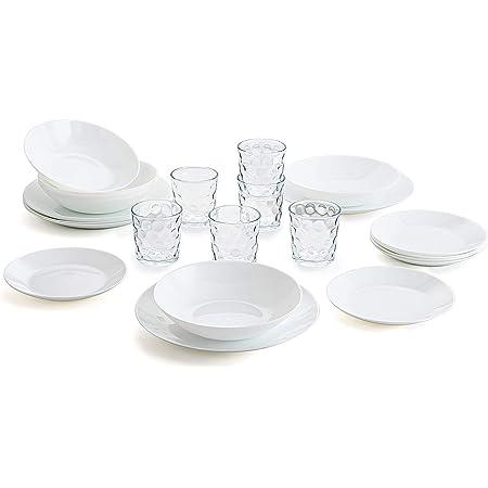 Arcopal Service de table complet pour 6 personnes 18 Set de 6 verres en verre 26 cl, opale, unique, 19 pièces