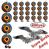 Bird Repellent Discs - Scare Birds Away 48pcs Bird Scarer Eyes Double Sided Keep Birds Away Disks - Keep Birds Woodpecker Pigeon Away from Repellent Disks