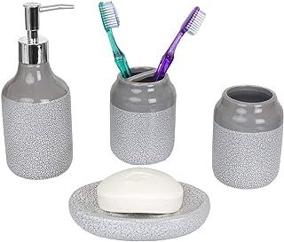 Home Basics Crackle 4 Piece Ceramic Bath Accessory Set-Includes Lotion Dispenser, Toothbrush Holder, Soap Dish, Tumbler, Grey