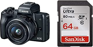 Canon EOS M50 Mirrorless Camera Kit with 15-45mm Lens(Black) with 64GB Memory Card