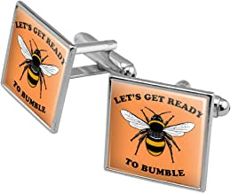 GRAPHICS & MORE Let's Get Ready to Bumble Bee Rumble Funny Humor Square Cufflink Set - Silver or Gold