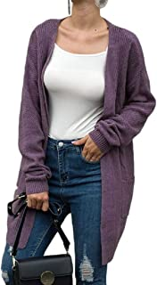 Women's Oversized Coat Long Sleeve Open Front Knit Cardigan Sweater with Pocket