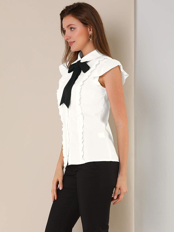 Allegra K Women's Ruffles Cap Sleeve Tops Tie Neck Button Up Peter Pan Collar Blouse Shirts
