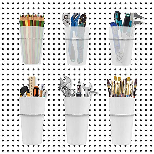 Pegboard Bins Baskets [6 Cups] Pegboard Accessories [2 Sizes] Peg board Hooks Accessories [Ring Style] Pegboard Tool Organizer for Storage, garage, Workbench, Craft, Office [White and Clear]