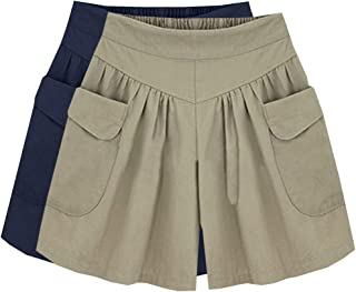 XinDao Women Elastic Waist Casual Loose Wide Leg Beach Shorts