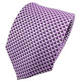 TigerTie Designer Seidenkrawatte in violett lila flieder violett silber kariert