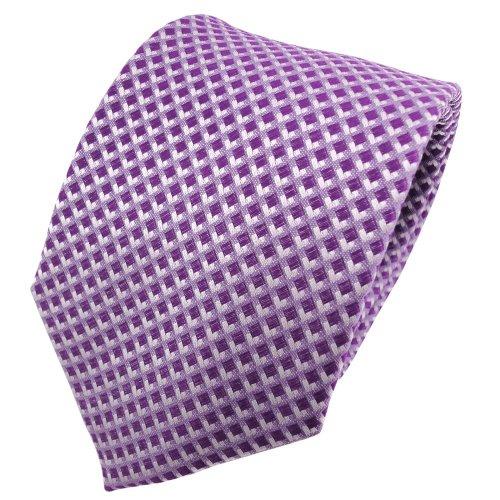 TigerTie diseñador corbata de seda - morado lila violeta plata a cuadros