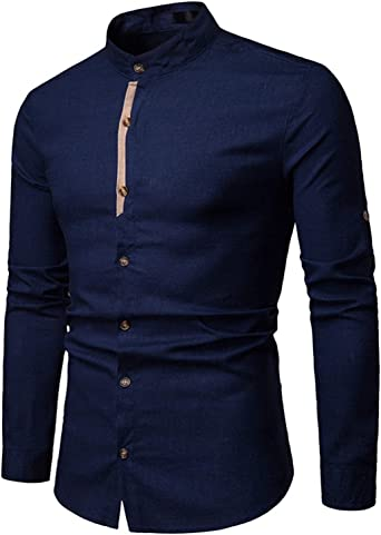 JOLIME Camisa Hombre Lino con Cuello Mao Manga Larga Casual Formal Trabajo Blusas Transpirable