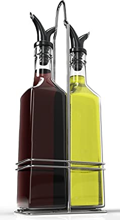 featured product Royal Oil and Vinegar Bottle Set with Stainless Steel Rack and Removable Cork – Dual Olive Oil Spout – Olive Oil Dispenser,  17oz Olive Oil Bottle and Vinegar Bottle Glass Set