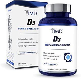 1MD Nutrition Vitamin D3 5000 IU Softgels   Bone Health, Muscle Function, & Immune Support   Gluten Free and Non-GMO with ...