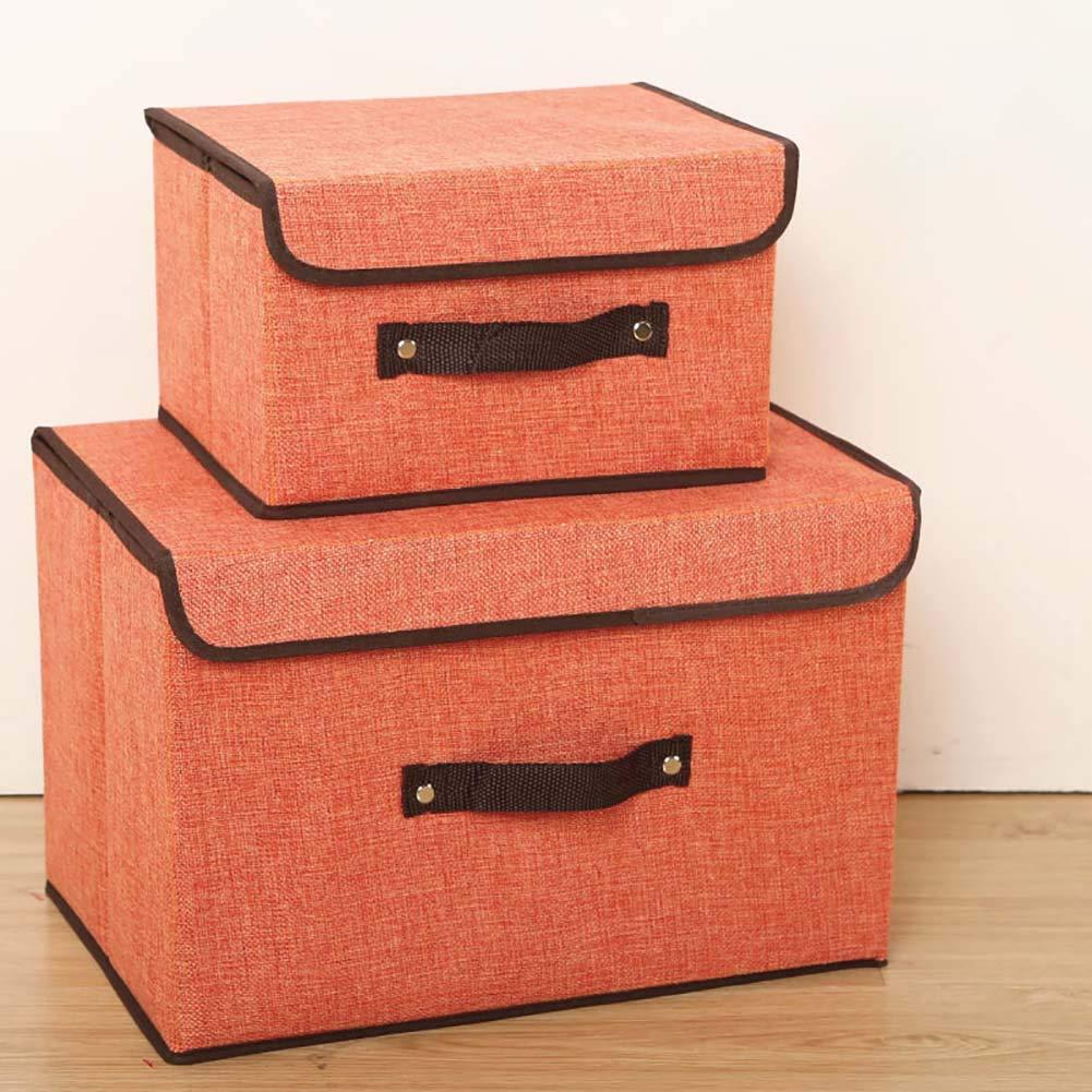 AZWE Caja de almacenamiento de tela con tapa 2 Conjunto de ropa plegable apilable Contenedor de almacenamiento Armario Organizador para la ropa interior, Pantalones, Calcetines Naranja Gris 25L,F,2se: Amazon.es: Bricolaje y herramientas