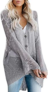 LONGDAY Women's Boho Long Sleeve Open Front Chunky Warm Cardigans Pointelle Pullover Sweater Blouses Button Up