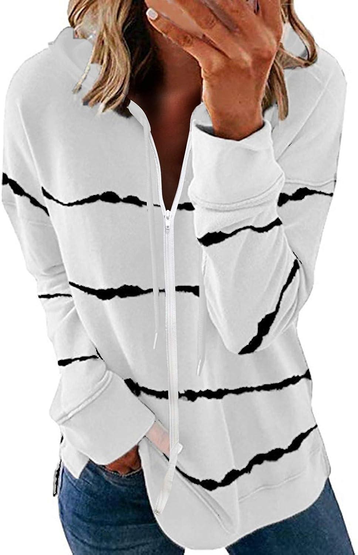 Sweatshirts for Women,Women's Zip Up Sweatshirts Long Sleeve Aesthetic Fashion Striped Print Casual Pullover Shirt