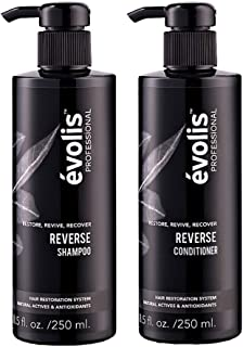 évolis REVERSE Shampoo & Conditioner for Hair Loss - Hair Growth Stimulating & Strengthening - Keratin Complex with Wheat ...