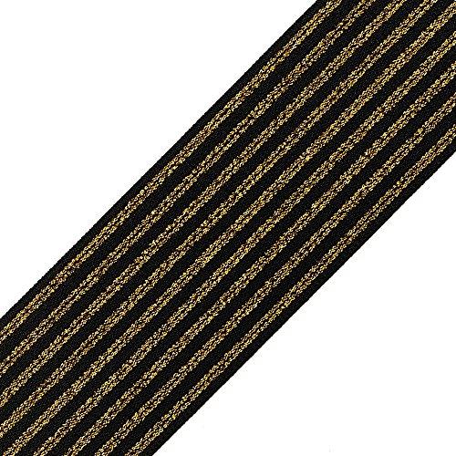 2' (50mm) Metallic GOLD Elastic Stretch Ribbon Trim, Elastic Band by 2-yards, TR-11700
