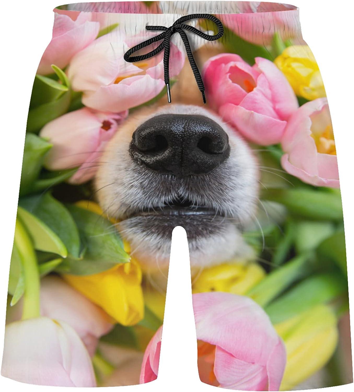 Black Corgi Dog Nose in Pink Tulips Flowers Boys Swim Trunks Shorts Bathing Suit Swi